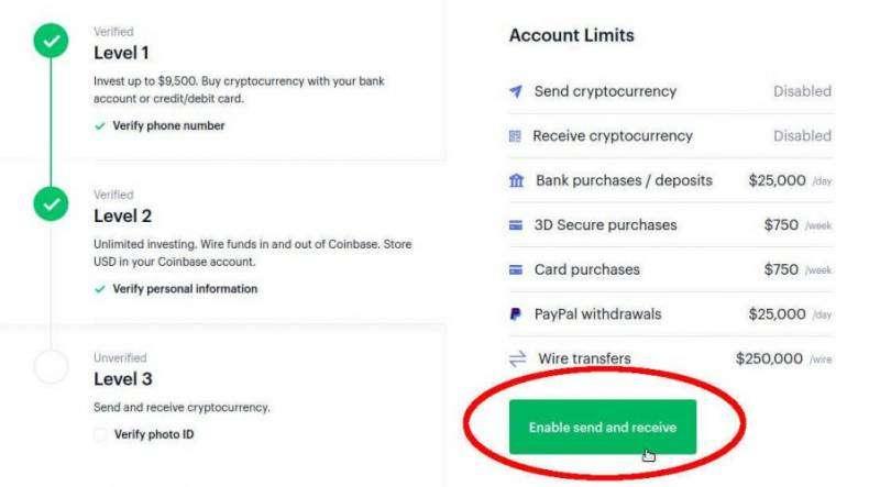 Coinbase Enable Send