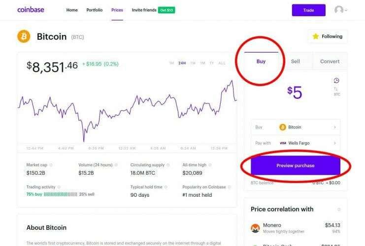 BTC Buy Coinbase